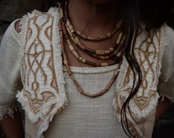 Cream Celtic Inspiration Vest Eco friendly Natural made of Fair trade Hand woven Cotton