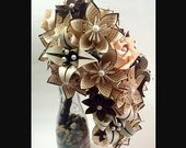 Cascading Brides Bouquet- one of a kind wedding bouquet, origami, kusudama, paper roses and lilies, your color scheme