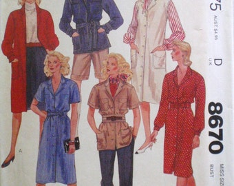 McCall's 8670 - Coat Dress, Safari Style Shirt Jacket, Dress or Jumper and Tie Belt Sewing Pattern - Size 14, Bust 36 - Uncut