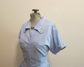 Dress blue chambray with ornate button collar 1950s pencil shirtdress pastel rockabilly POCKETS L