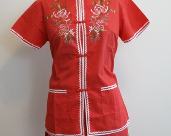 Kimono pajamas Asian RED embroidered lounge sleep wear pinup 1960s pinup pjs M