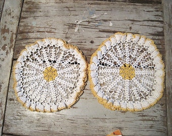 Two Vintage Yellow and White Hand Crochet Doilies