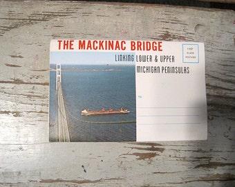 Vintage 1963 Michigan Mackinac Bridge Souvenir Folding Postcard