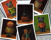 Vintage Halloween Notecards - Black Cat - Goblins - Collectible Cards