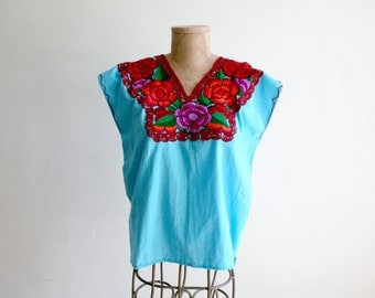 Sky Blue Embroidered Mexican Top m-l