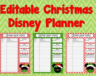 Editable Disney Christmas Vacation Planner, Instant Download, Itinerary, Agenda