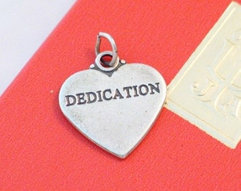 3-D Heart tag quote Dedication both sides sterling silver bracelet charm or necklace pendant
