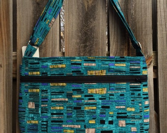 Zipper Pocket Cross Body Bag - Blue, Black, Yellow and Gray Boxes Pattern