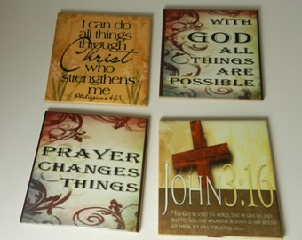 Scripture Coaster Set Bible Verse Ceramic Tile Drink Coasters John 3:16 Philippians Wall Decor Christian  Gift