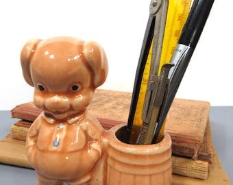 Vintage Pottery Pig Pencil Holder, Planter, Back to School, Child Room Decor, Nursery Q-Tip Holder, Retro Piggy Decor