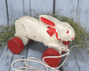 1930s Rabbit Bunny Pull Toy Mounted on Wooden Wheels - Spring, Easter
