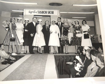 Vintage Hope Reed Fashion Show Black & White Photo, 8 x 10, 1950s New York Fashion Designer
