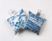Set of Two Silk Lavender Sachets Bags in Bold Geometric Pattern Japanese kimono