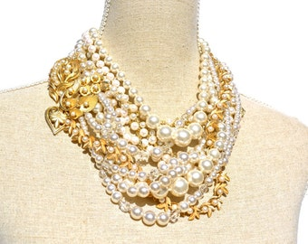 Chunky Pearl Bridal Necklace, Vintage Statement Jewelry, Wedding Necklace