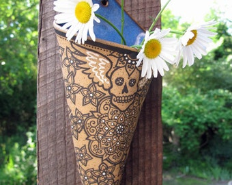 Momento Mori Wall Pocket - ceramic sconce flower vase
