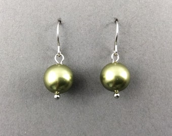 Green Earrings In Silver With Crytal Powder Green Swarovski Crystal Pearl