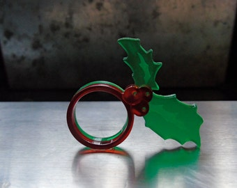 Festive acrylic Holly leaf and berry ring pair