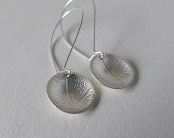 Silver leaf domed earrings