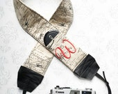 Personalized DSLR Camera Strap, Extra Long, Padded with Lens Cap Pockets, Nikon, Canon, DSLR Photography, Photographer - Maps with Ruthie