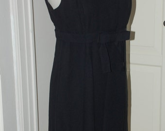 60s Dress, Crepe, Empire, Bow, Bobbie Brooks, LBD, Size Small