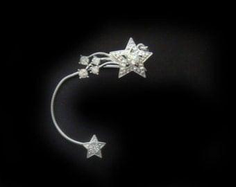 Star Ear Cuff - Crystal No Pierce Earring - Crystal Ear Cuff - Starburst Ear Wrap - LOTR - Elvish - Cosplay
