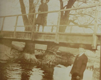 Old French Photograph - Young Man & Girl By a River