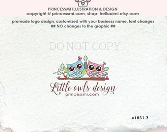 1031-2  Two Owls logo, owl logo, photography logo, kids owl business, boutique logo