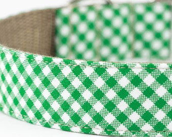 Kelly Green Gingham Dog Collar