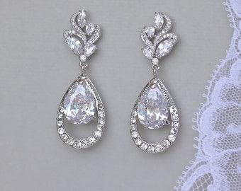 Teardrop Bridal Earrings, Crystal Earrings, Crystal Teardrop Wedding Earrings, Bridal Jewelry, Wedding Jewelry, ADELAIDE
