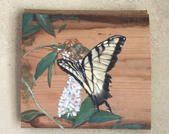 "Eastern Tiger Swallowtail Butterfly Barn Wood Painting • Original 7"" x 7"" Oil on Barn Wood • Ready to Ship"