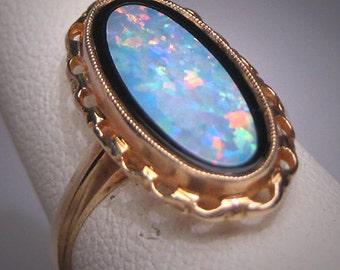 Antique Australian Opal Onyx Ring Retro Victorian Style Gold Filigree