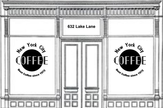 Coffee Shop Name / Brand Name / Cafe shop / tea house / open closed / vinyl sign / window sign / business hours / storefront