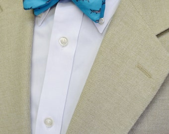 Great White Shark Men's Bow Tie  or Tie on Silky Faille, Available in Orange or Blue, Beach Wedding, Adjustable Bow Tie, Self-tie or Pretied