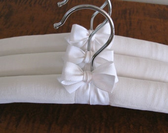 Padded Hangers, White Vintage French Cotton Padded Hangers, White Hangers w/French Fabric and White Organic Ribbon Accent (Set of 3)