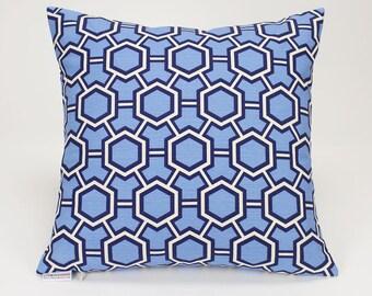 Kravet Courbet Reflection Jonathan Adler Blue Geometric Throw Pillow Cover