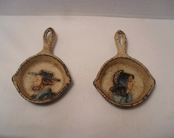 Set of Vintage Miniature Amish Couple  Cast Iron Skillet or Frying Pan Tea Bag or Spoon Rests or Trivets