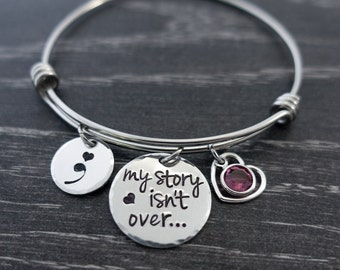Semicolon Jewelry / Wire Bangle / Semicolon Bangle / Suicide Awareness / Personalized Bangle / My Story isn't over yet / Hand Stamped