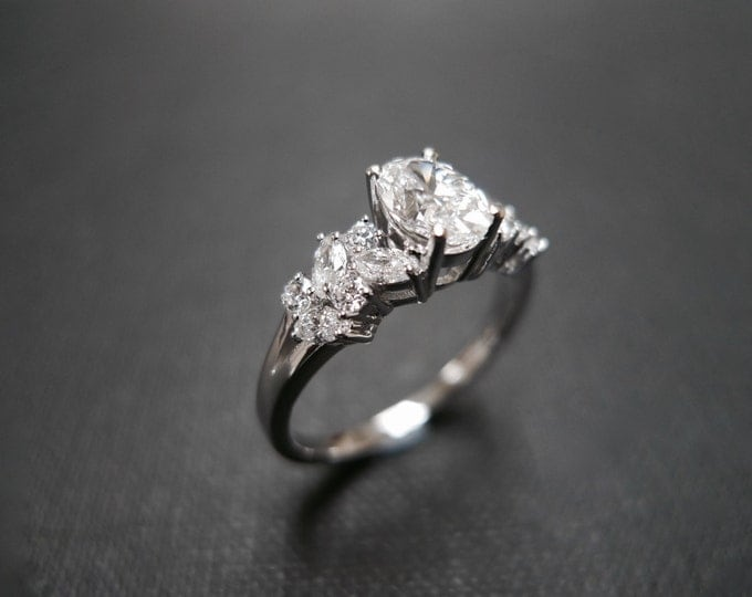 0.80ct Oval Diamond Engagement Ring