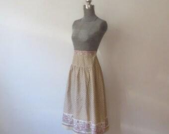 Vintage Crisp Jack Winter Calico Side Button Prairie Skirt, XS