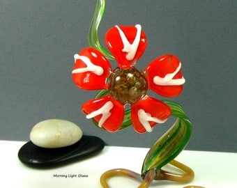 Red Orange Art Glass Flower Sculpture - Lampwork Botanical Nature Decor - Garden Glass