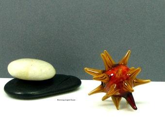 Sea Life Glass, Sea Urchin Sculpture, Spikey Orb, Lampwork - Sunflower