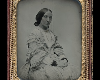 Beautiful 1850s British Ambrotype Photo in Leather Case