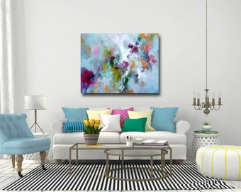 Canvas Art, Large Abstract Print, Giclee Print, Wall Art, Large Painting, Blue Canvas Art, Modern Art, blue, pink, green, yellow