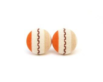 Orange beige button earrings - small fabric earrings - tiny stud earrings - spring earrings