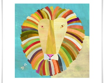 Colorful Lion // Giclee Art Print // Safari Theme