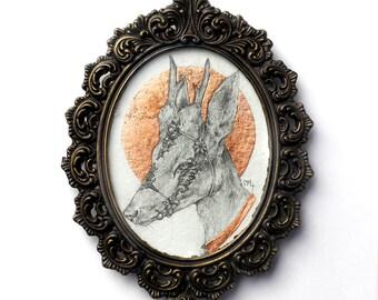 Original Art Copper Leaf Metallic Ornate Deer Pencil Illustration in Vintage Brass Italian Frame