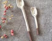 Pair of Ceramic salt Spoon Home Decor Handmade gray Glaze black clay - pair of spoons in unique square design for honey, sugar jam