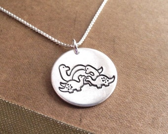 Dinosaur Family Necklace, Mom, Dad, Two Babies, Two Moms, Two Dads, New Family Necklace, Fine Silver, Sterling Silver Chain, Made To Order