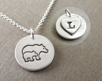 Personalized Small Mother and Baby Bear Necklace, New Mom Necklace, Bear Monogram, Fine Silver, Sterling Silver Chain, Made To Order