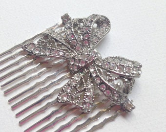 Silver Bow Vintage Crystal Bridal Wedding Headpiece, Hair Comb, Bridal Accessories  Ask a question